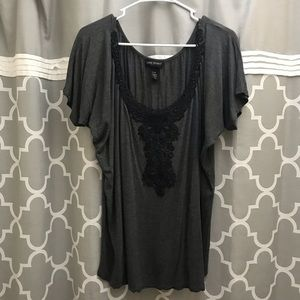 Lane Bryant Grey and Black Lace Scoop Neck Top